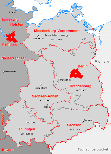 Carte Allemagne de l'Est